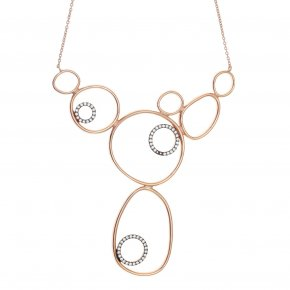 Necklace silver 925 Pink gold plated with zirconia - Funky Metal