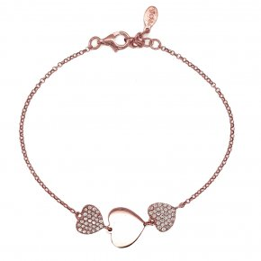 Bracelet silver 925 pink gold plated & with white zirconia - WANNA GLOW