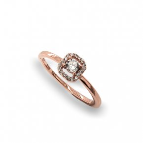 Ring silver 925 Pink Gold Plated With White Zirconia - Simply Me