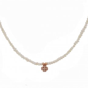 Necklace in silver 925 pink gold plated with white zirconia and fresh water pearl - Simply Me