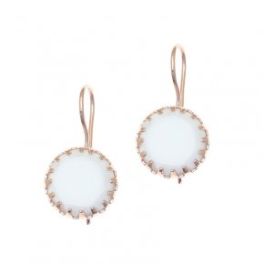 Earrings silver 925 pink gold plated with white agate - Color Me