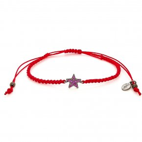 Bracelet silver 925 black rodium plated with red zirconia and cord - Color Me