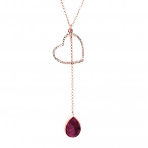 Necklace silver 925 pink gold plated with gemstones - Color Me