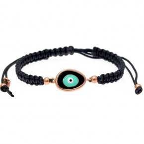 Bracelet silver 925 pink gold plated & with enamel evil eye  with cord - Wish Luck