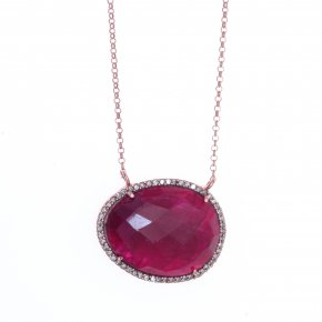 Necklace silver 925 pink gold plated with treated ruby and white zirconia - Color Me