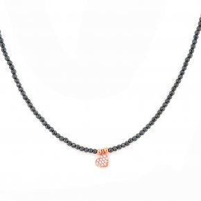 Necklace in silver 925 pink gold plated with white zirconia and hehatite - Simply Me