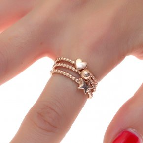 Ring silver 925 pink gold plated - Simply Me