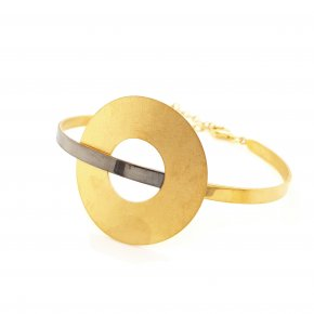 Bracelet silver 925 yellow gold plated with black rhodium plating - Funky Metal