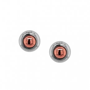 Earrings silver 925 pink gold plated with black rhodium plated - Funky Metal