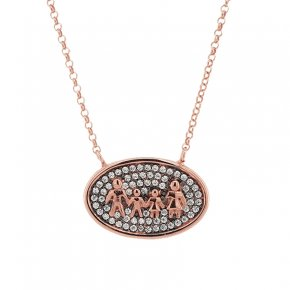 Necklace silver 925 pink gold plated and white zircon - Wish Luck