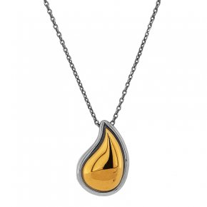 Necklace silver 925 rhodium plated with yellow gold plated - Funky Metal