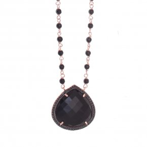 Necklace silver 925 pink gold plated & onyx and black zirconia - Color Me