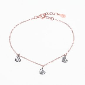 Bracelet silver 925 pink gold plated with black rodium plated - Simply Me