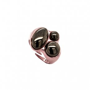 Ring silver 925 pink gold plated with black rhodium plated - Funky Metal