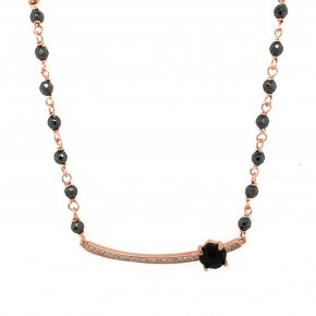 Necklace in silver 925 pink gold plated with onyx, hematite and white zirconia - Color Me