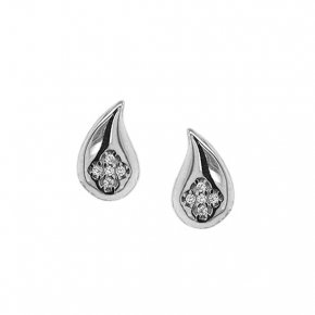 Earrings silver 925 rhodium plated with white zirconia - WANNA GLOW