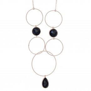 Necklace silver 925 pink gold plated & with onyx - Color Me
