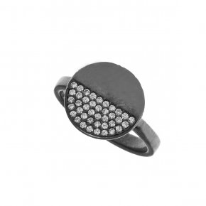 Ring silver 925 black rhodium plated with white zirconia - WANNA GLOW