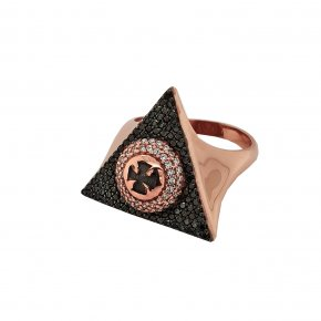 Ring silver 925 pink gold plated & with black spinels - WANNA GLOW