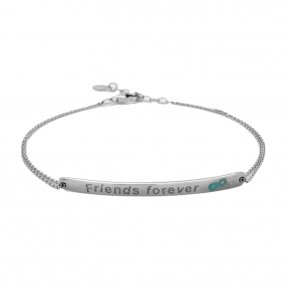 Bracelet silver 925 rhodium plated with enamel (Friends forever) - Wish Luck