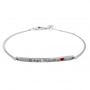 Bracelet silver 925 rhodium plated with enamel (Best mum) - Wish Luck