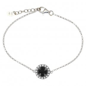 Bracelet silver 925 rhodium plated & with white zirconia and black spines - WANNA GLOW