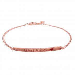 Bracelet silver 925 pink gold plated with enamel (Best Mum) - Wish Luck