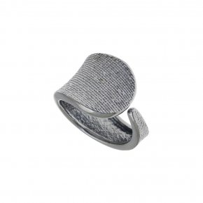 Ring Silver 925 black rhodium plated - Funky Metal