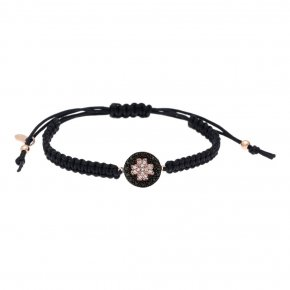 Bracelet silver 925 pink gold plated & with white zirconia and black spines with cord - WANNA GLOW