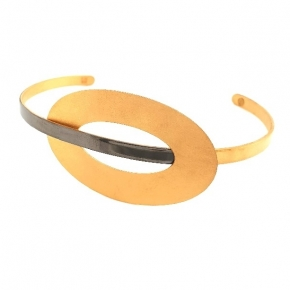 Bracelet silver 925 yellow gold plated with black rhodium plated - Funky Metal