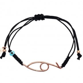 Bracelet silver 925 pink gold plated with cord and evil eye - Wish Luck