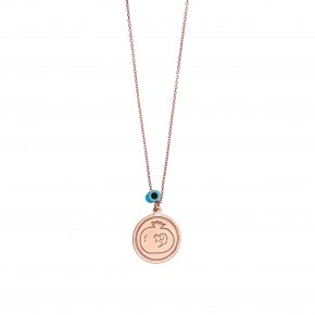 Necklace silver 925 pink gold plated with evil eye - Wish Luck