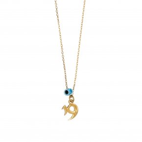 Necklace silver 925 yellow gold plated with evil eye - Wish Luck
