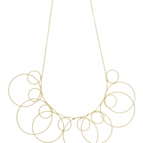 Necklace silver 925 yellow gold plated ( big circle size 4 cm) - Funky Metal