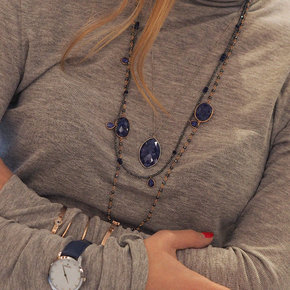 Necklace in silver 925 pink gold plated with sapphire and hematite - Petra