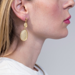 Εarrings in silver 925 gold plated with white zirconia - Funky Metal