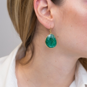 Earrings silver 925 yellow gold plated & with treated emerald - Color Me