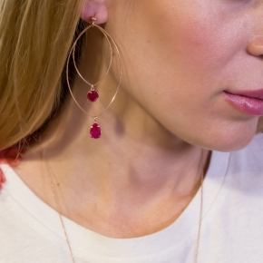 Earrings silver 925 pink gold plated & with treated ruby - Color Me