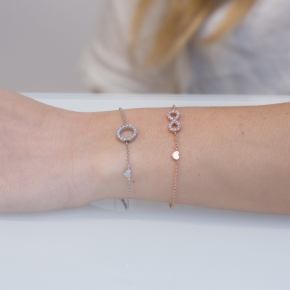 Bracelet silver 925 pink gold plated with synthetic stones - Simply Me