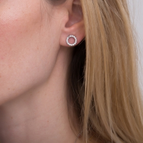 Earrings in silver 925 rhodium plated with white zirconia - Simply Me