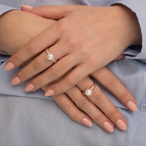 Ring in Silver 925 pink gold plated with shell pearls - Simply Me