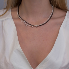 Necklace silver 925 pink gold plated & with fresh water pearl and white zirconia - Color Me