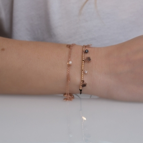 Bracelet silver 925 pink gold plated & with hematite and white zirconia with cord - Simply Me