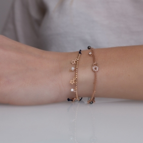 Bracelet silver 925 pink gold plated & with white zirconia and fresh water pearls with cord - Simply Me