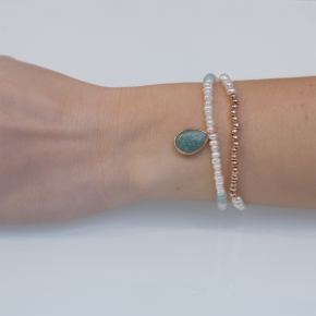 Bracelet silver 925 pink gold plated & with fresh water pearls and amazonite with cord - Petra