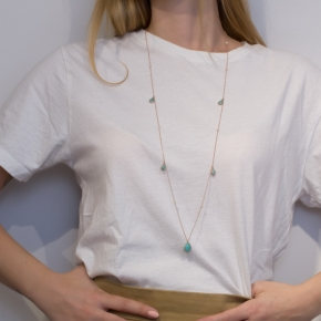 Necklace silver 925 pink gold plated & with fresh water pearls and amazonite - Color Me