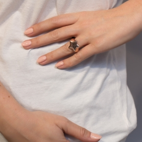 Ring silver 925 pink gold plated - WANNA GLOW