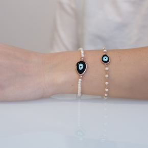 Bracelet silver 925 pink gold plated & with enamel evil eye - Wish Luck