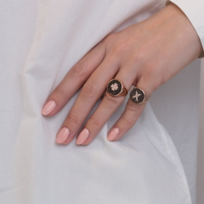 Ring silver 925 pink gold plated & with white zirconia and black spines - WANNA GLOW