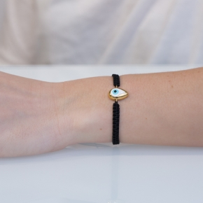 Bracelet 925 yellow gold plated with cord and enamel eye (0.9cm x 1,3cm) - Wish Luck